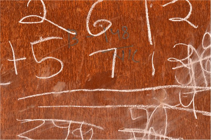 Picture of Chalk Writings on Metal Sheet
