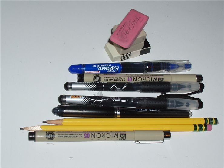 Picture Of Writing And Drawing Implements